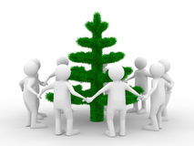 Group people around christmas tree. Isolated 3d image Stock Photos
