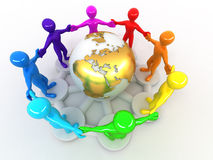 Group of people around of earth Royalty Free Stock Photography