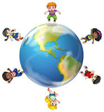 A group of people around the globe Stock Photography