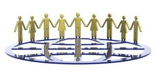 Group of people around globe symbolic Stock Photo