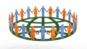Group of people around globe symbolic. Group of symbol people around a globe in a spirit of togetherness, 3D render Stock Image