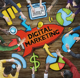 Group of People Around Word Digital Marketing Stock Image