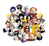 Group people art faces crowd isolate on white. Stock Photography