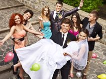 Group People At Wedding Outdoor. Stock Images