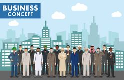 Business concept. Group of businessmen standing together on background with cityscape. Business team and teamwork Stock Images