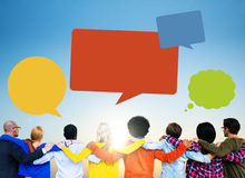Group of People Backwards with Speech Bubbles Stock Image