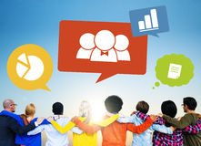 Group of People Backwards with Speech Bubbles Stock Photography