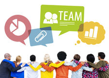 Group of People Backwards with Team Concepts Stock Images