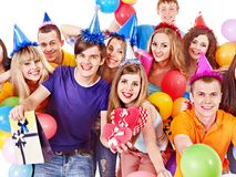 Group people with balloon on party. Royalty Free Stock Photos