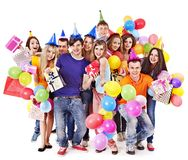 Group people with balloon on party. Royalty Free Stock Photography