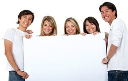 Group of people with a banner Stock Image