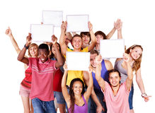Group people with banner. Stock Images