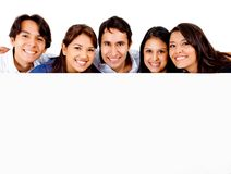 Group of people with banner Royalty Free Stock Photography