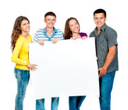 Group people with banner Royalty Free Stock Photo