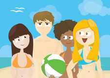 Group of people on a beach Stock Photography