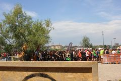 Group of people before the beginning of a running competition Stock Photo