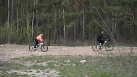 Group of people on bicycles stock footage