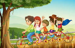 A group of people biking Stock Photo