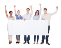 Group of people with billboard raising hand. Group Of People With White Billboard Raising Hand Over White Background stock photography