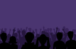 Group of people black business male female concept and fun standing crowd of position team silhouettes friends fans pose Royalty Free Stock Image