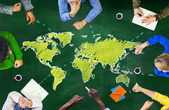 Group of People Blackboard Global Communications Concept Stock Images