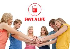Group of people and blood donation concept. Digital composite of Group of people and blood donation concept royalty free stock image