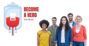 Group of people and blood donation concept. Digital composite of Group of people and blood donation concept royalty free stock photos