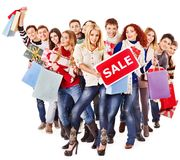 Group people with board sale. Royalty Free Stock Images