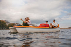 Group of people in boat taking selfie Royalty Free Stock Photos