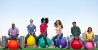 Group of People Bouncing Balls Skyline.  Royalty Free Stock Photography