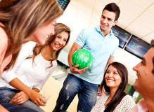 Group of people bowling Stock Images