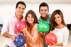 Group of people bowling Royalty Free Stock Photography