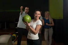 Group Of People Bowling Stock Photo