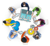 Group of People Brainstorming with System Concepts Royalty Free Stock Photo