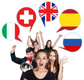 Group of people and bubbles with countries' flags Stock Photos