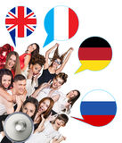Group of people and bubbles with countries' flags Royalty Free Stock Image