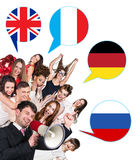 Group of people and bubbles with countries' flags Royalty Free Stock Photo