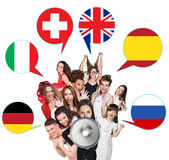 Group of people and bubbles with countries' flags Stock Images