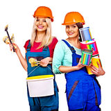 Group people builder  with construction tools. Stock Images