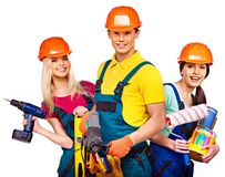Group people builder with construction tools. Isolated royalty free stock image