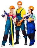 Group people builder  with construction tools. Stock Photos