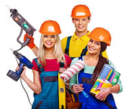 Group people builder  with construction tools. Royalty Free Stock Photography