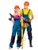 Group people builder  with construction tools Royalty Free Stock Photo