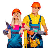Group people builder  with construction tools Royalty Free Stock Image