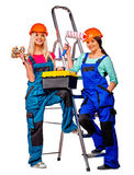 Group people builder  with construction tools Stock Photos