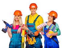 Group people builder with construction tools royalty free stock photography