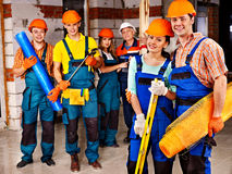 Group people in builder uniform. Stock Photo