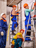 Group people in builder uniform Royalty Free Stock Photo