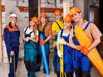 Group people in builder uniform Royalty Free Stock Image