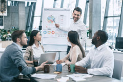Group of people business meeting team work concept. Group of young people having business meeting work together Stock Image